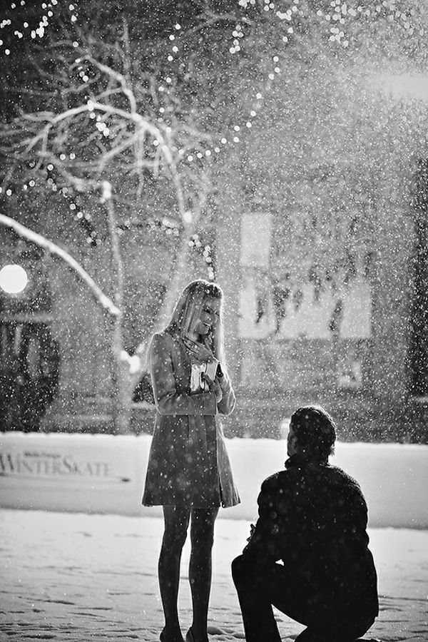 Black and white photo of a winter engagement