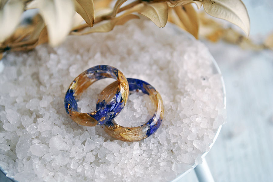 Resin Flower Wedding Bands